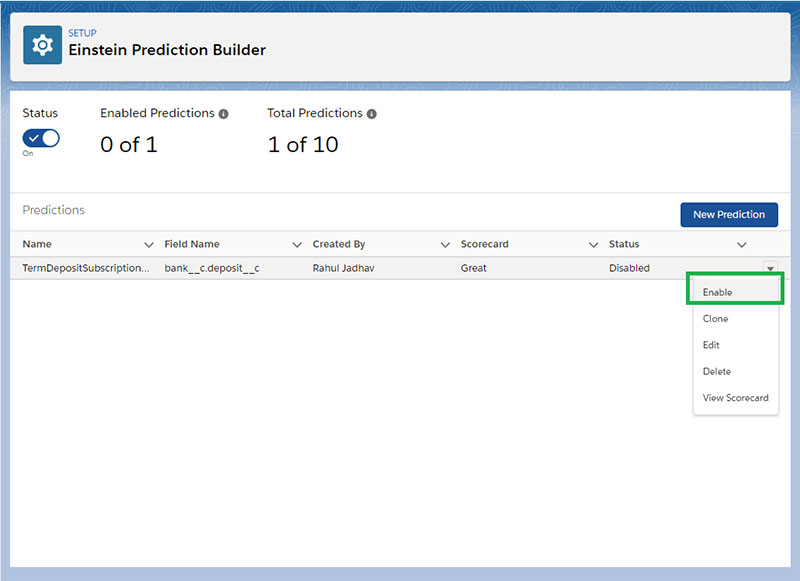 Enabling the Prediction Model